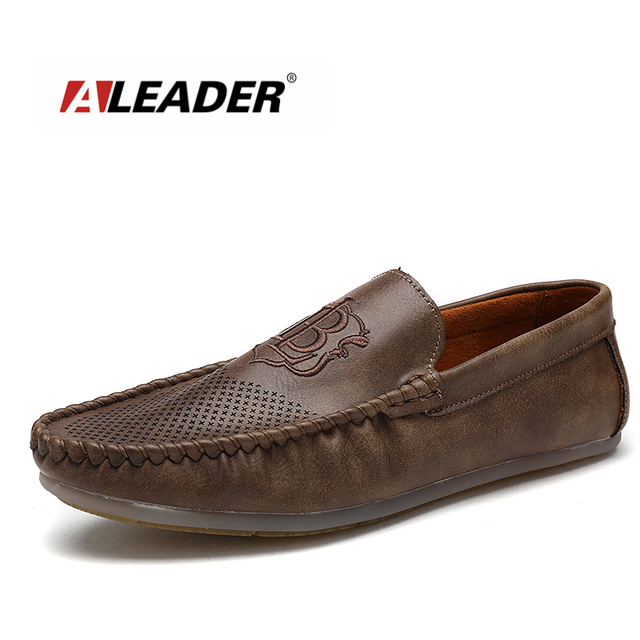 cfd96c39b85 Aleader New Men Penny Loafers Slip On Mens Shoes Leather Driving Shoes  Casual Black Platform Loafers
