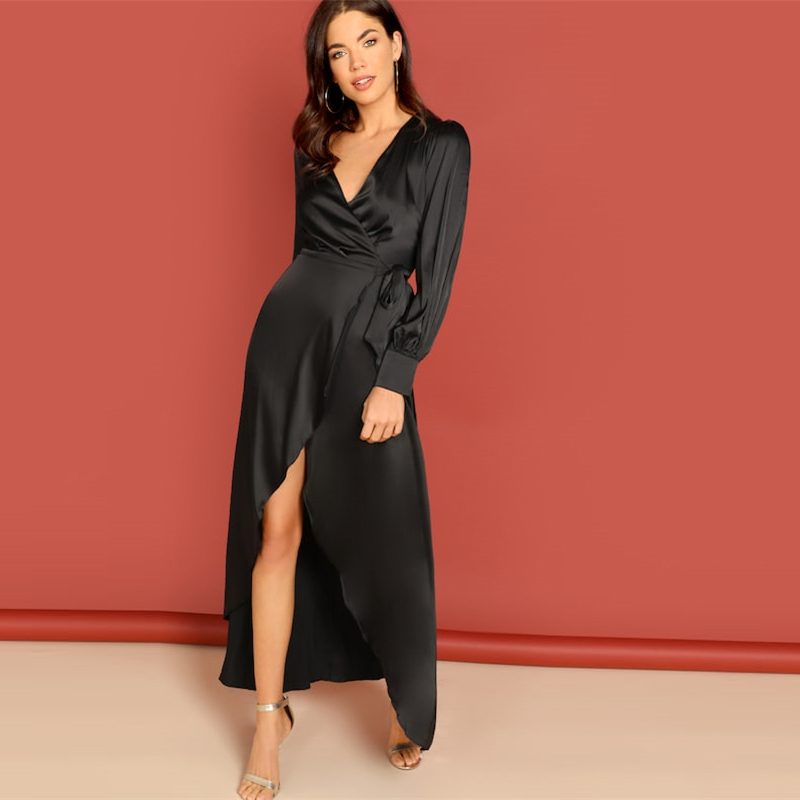 COLROVIE Black Knot Surplice Wrap Split Party Maxi Dress Women Clothes 2019 Spring Long Sleeve High Waist Dress Ladies Dresses 5
