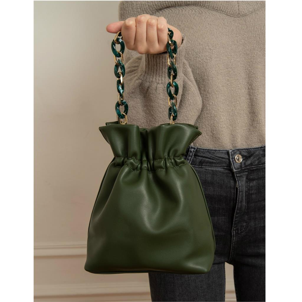 Luxury Handbags Women Bucket Bag Famous Acrylic Chain Handle HandBag Female Vintage Crossbody Bucket Bag Leather Purse handbag