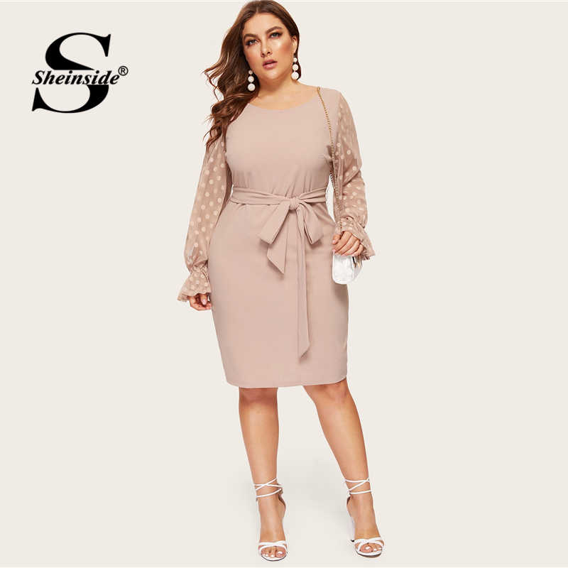 Sheinside размера плюс платье миди в горошек с сетчатыми рукавами 2019 весеннее элегантное платье с рукавами-воланами Женское платье с высокой талией и поясом