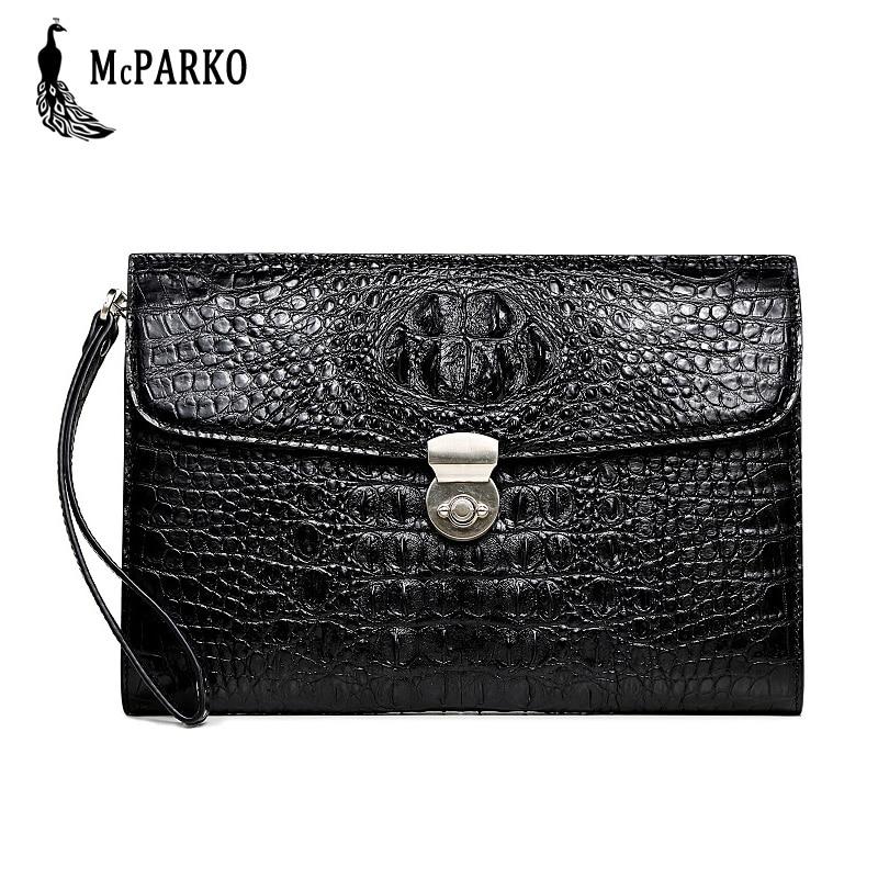 Luxury men's bag Genuine leather clutch bag men Real crocodile skin cltuch wallet Original alligator card holder wallet Black все цены