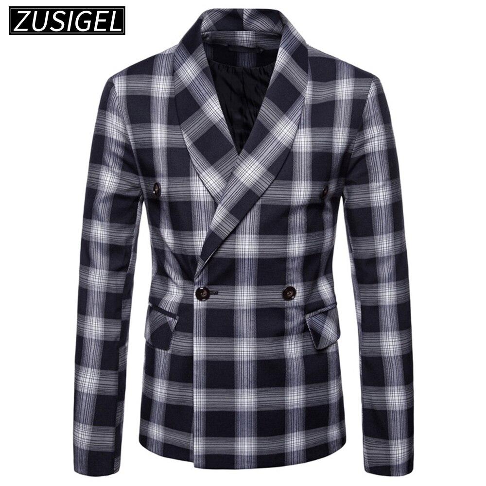 Zusigel Men's Suit Plaid Notched Collar Double Breasted Dark Checked Tuxedo Men Blazer Jacket