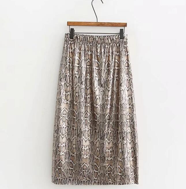 Autumn and Winter Snake Print Long Skirt Sequined High Waist Skirt Lady Fashion Streetwear 11