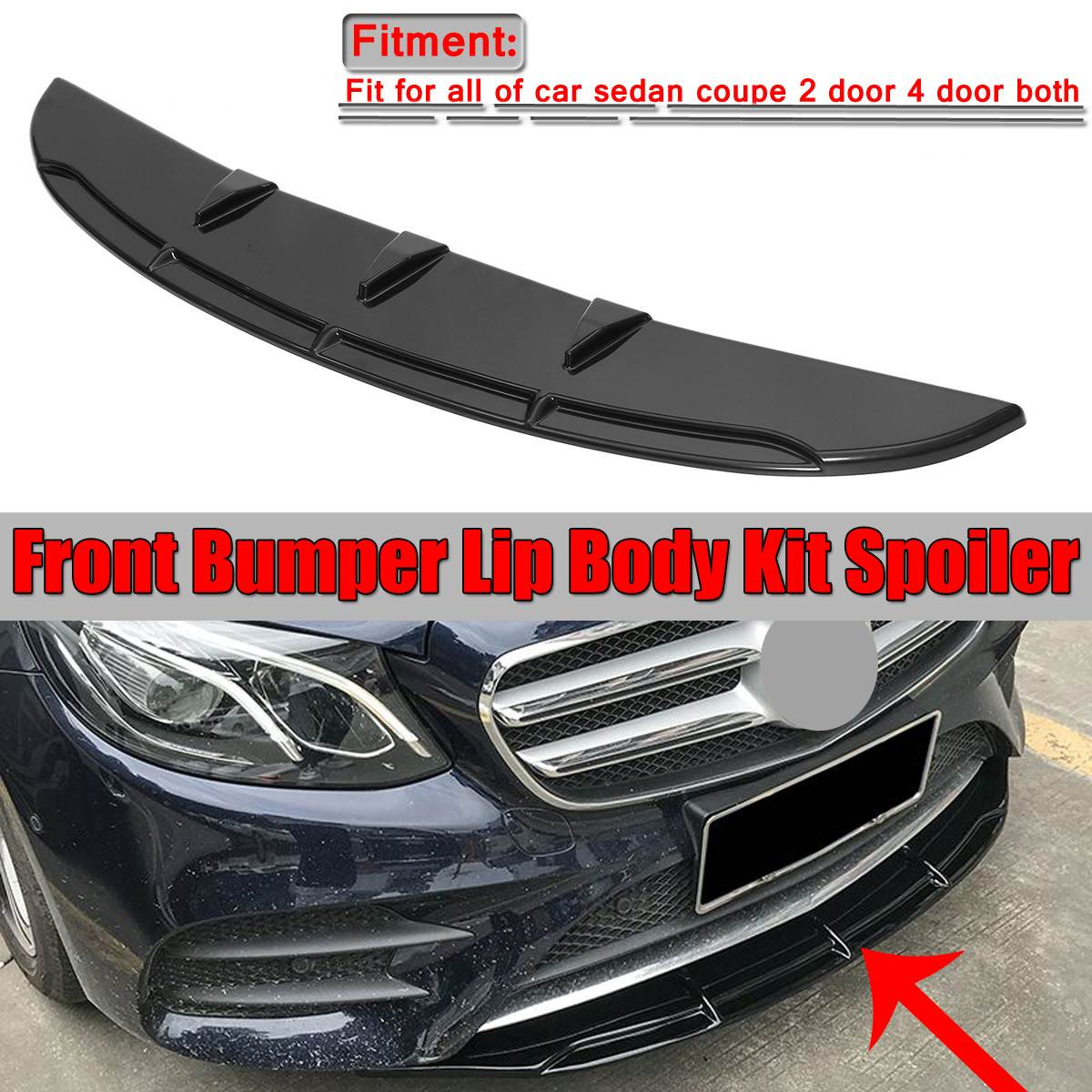 1xUniversal Car Front Bumper Lip  Spoiler Diffuser Fins Body Kit Car styling For Benz For BMW For Civic Glossy Black/Carbon Look|Bumpers| |  - title=