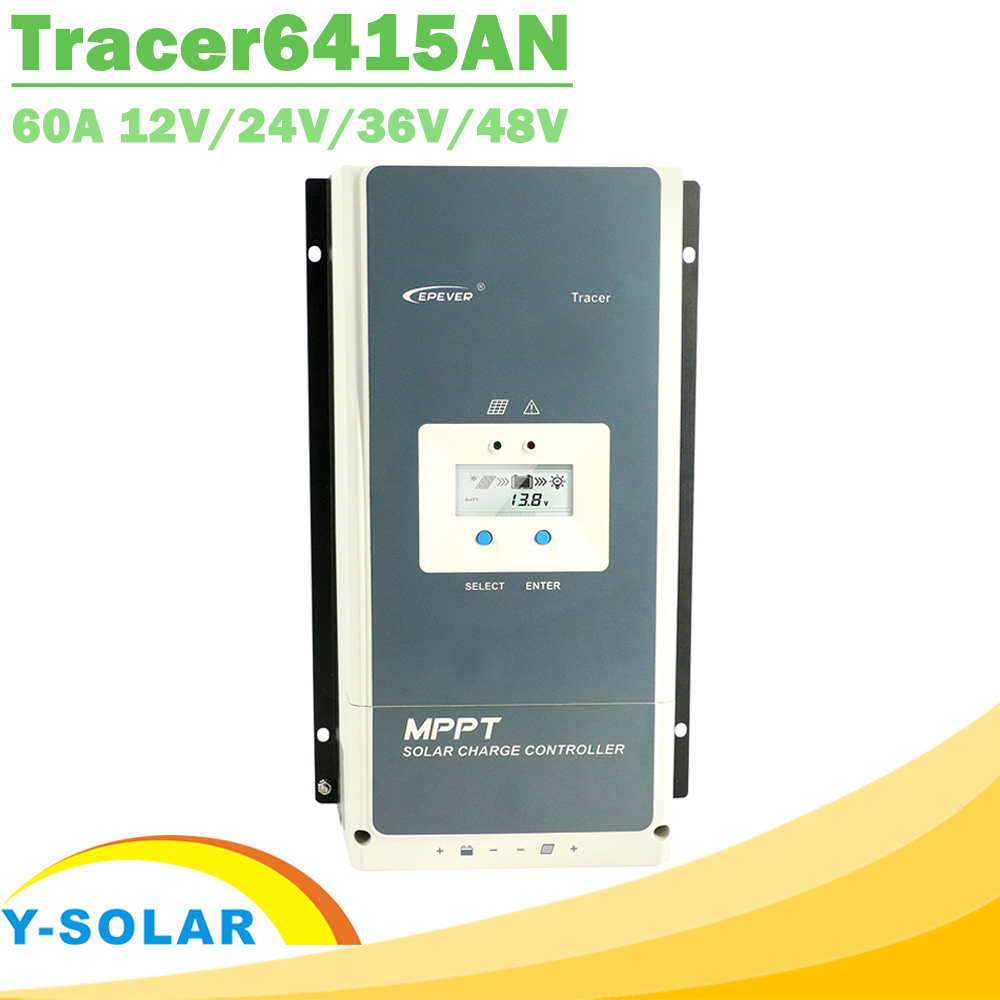 EPever 60A MPPT 12V 24V 36V 48V Solar Charge Controller Backlight LCD Display Max 150V PV Input Common Negative Grounding 6415AN 60a epever mppt solar charge controller 60a 12v 24v 36v 48vdc auto battery regulator max pv input voltage 150v or 200v mppt ce