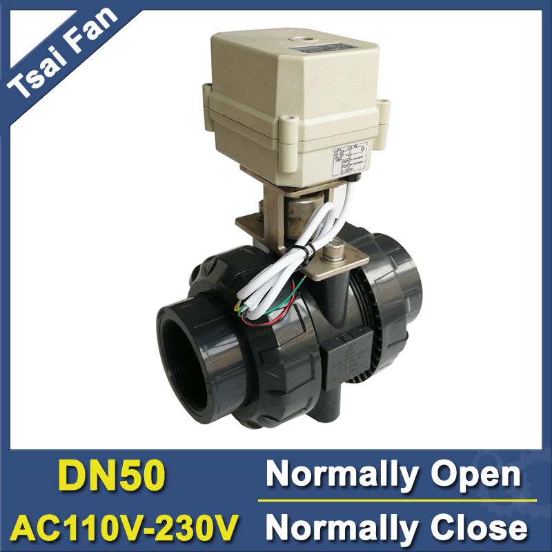 PVC DN50 Normally Open/Close Valve TF50-P2-C BSP/NPT 2'' AC110V-230V 2/5 Wires 10NM On/Off 15 Sec For Water Application CE stainless steel 2 electric ball valve dc12v 5 wires dn50 actuator valve 2 way torque 10nm on off 15 sec metal gear