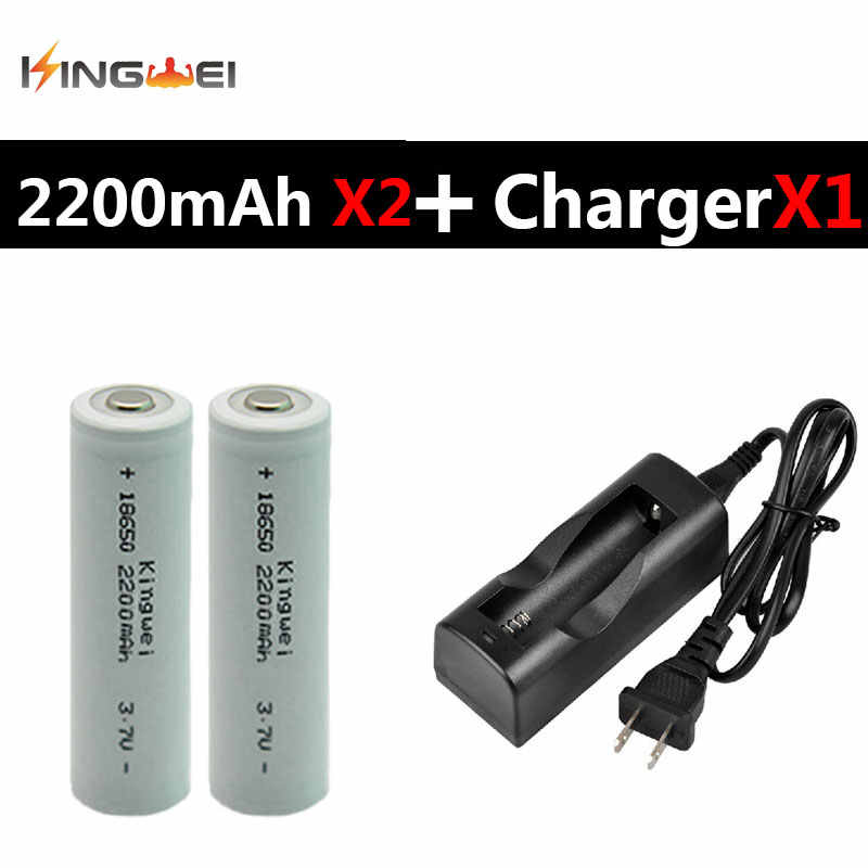 Brand New KingWei NK-803C Battery 3.7v 18650 Charger With 2Pcs White 2200mAh 18650 Rechargeable Li-ion Battery