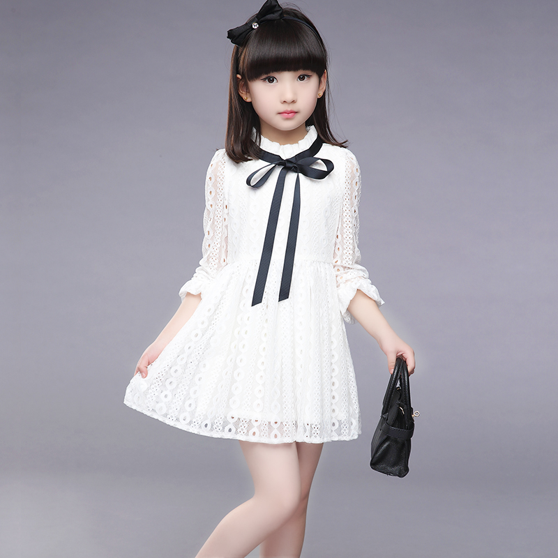 2017 Girls Dress New Summer Children Hollow Out Lace Princesess Solid Cute Party Junior School KIds Clothes Baby Dress