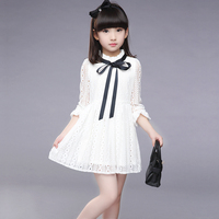 2017 Girls Dress New Summer Children Hollow Out Lace Princesess Solid Cute Party Junior School KIds