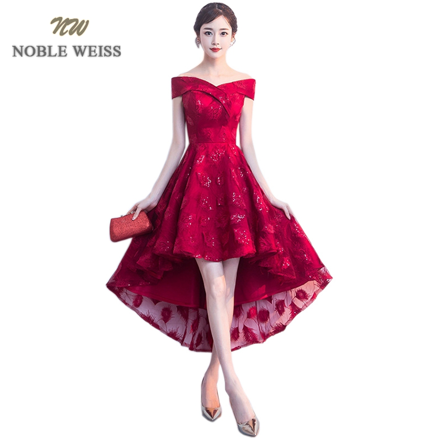 NOBLE WEISS Elegant Sweetheart Prom Gowns Asymmetrical Formal Evening Gown Lace Prom Dress Free Shipping