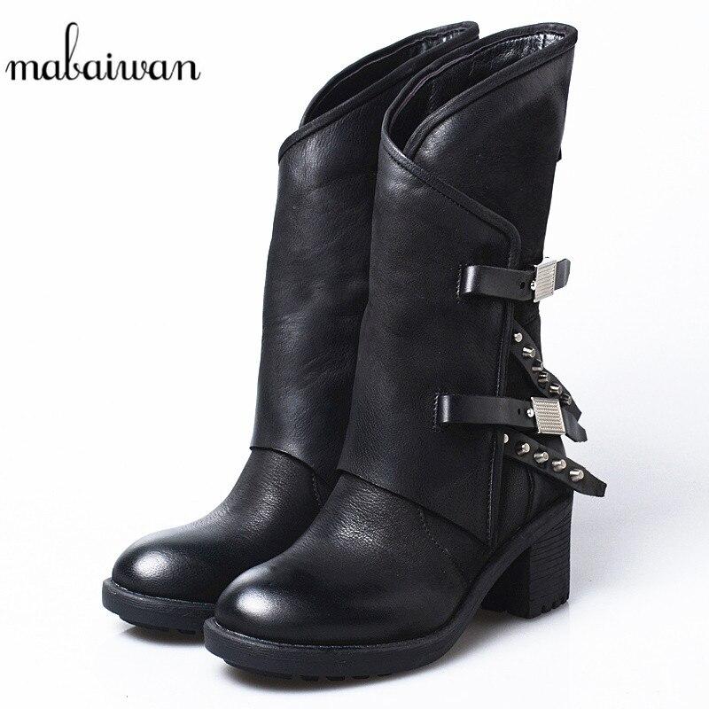 Mabaiwan/Женская обувь оригинального дизайна; зимние ботинки до середины икры в стиле ретро; обувь из натуральной кожи на высоком толстом каблу