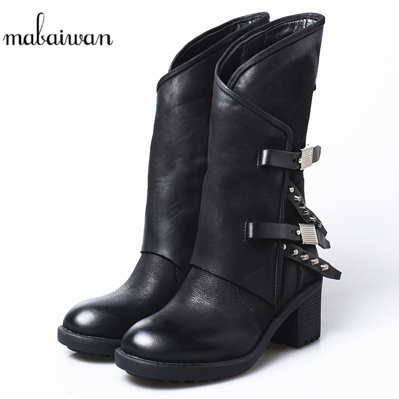 Mabaiwan Original Design Women Shoes Winter Patchwork Retro Mid Calf Boots High Thick Heel Genuine Leather Shoes Woman's Pumps 2018 women top quatily genuine leather luxury pineapple heel design style single shoes pineapple print thick soled high heel