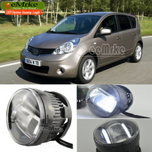 eeMrke Led Guiding DRL For Nissan NOTE 2006~2009 EUROPEAN TYPE 2in1 LED Fog Lights With Q5 Lens Daytime Running Lights