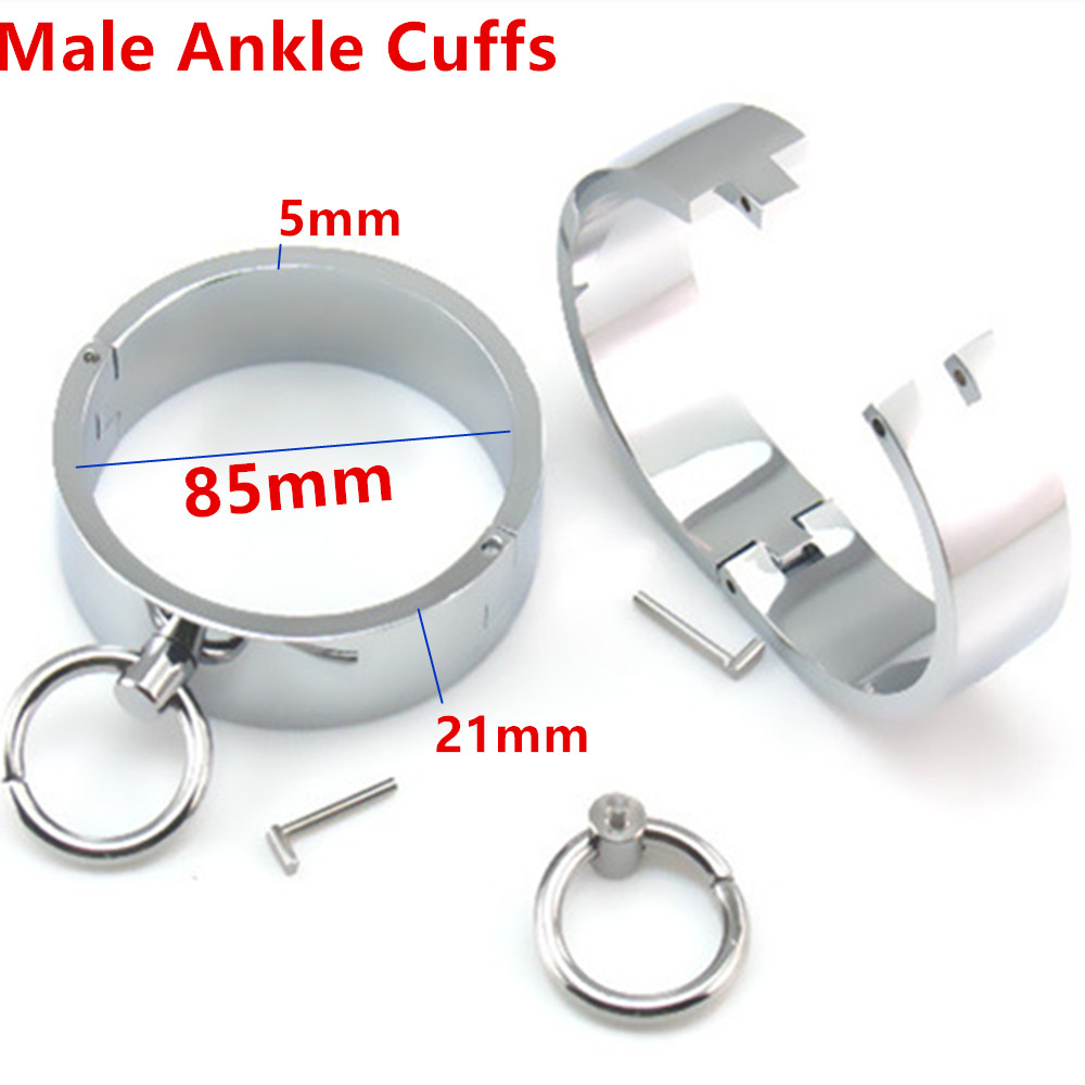 Metal Ankle Cuffs Restraints Bondage Slave In Adult Games Fetish Sex Toys For Men stainless steel wrist cuffs metal restraints bondage slave in adult games for couples fetish sex toys for men and women
