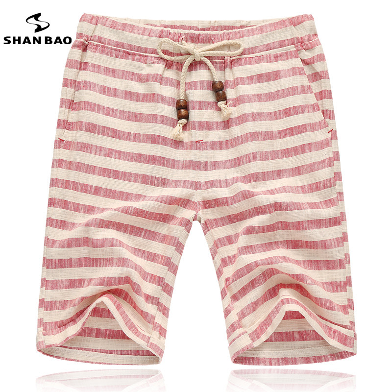 SHAN BAO brands men 2017 summer shorts fashion style and comfortable breathable linen stripe leisure men