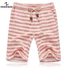 ШАН БАО бренды мужчины 2017 летние шорты мода стиль и комфортно дышащая белье полоса досуг мужские пляжные шорты