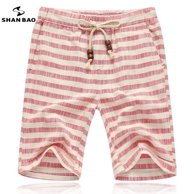 SHAN BAO brands men 2017 summer shorts fashion style and comfortable breathable linen stripe leisure men's beach shorts