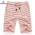 SHAN BAO marcas de homens 2017 calções de verão moda e estilo confortável respirável linho tarja lazer shorts da praia dos homens