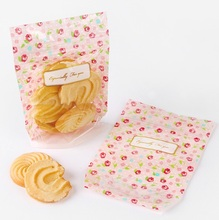 15*10.4*5cm 50pcs cute little rose design zipper bag Cookie Snacks Chocolate Gift party Decoration Packaging Bags