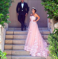 2019 арабский Розовые Свадебные платья с Hademade 3D цветы пояса спинки красивые свадебные платья Любой размер и любой Цвет лучшие Бальные платья