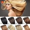 African American Clip in Human Hair Extension Full Head 7A Brazilian Virgin Hair Afro Clip Ins Black Ash Blonde Brazilian ELI7