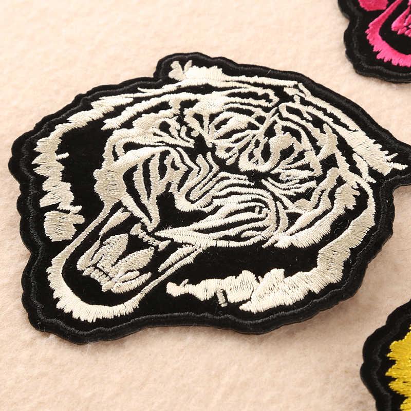 Prajna панк стильные наклейки голова тигра льва волка железа на патч цвет мини животных эмблемы с вышивкой для мужчин куртка рок аксессуар