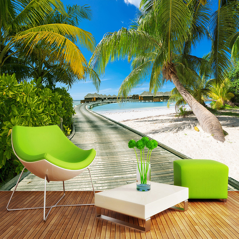 Beach Sea View Photography Background Large Murals 3D Coconut Trees Wooden Bridge Living Room Bedroom Backdrop Photo Wallpaper