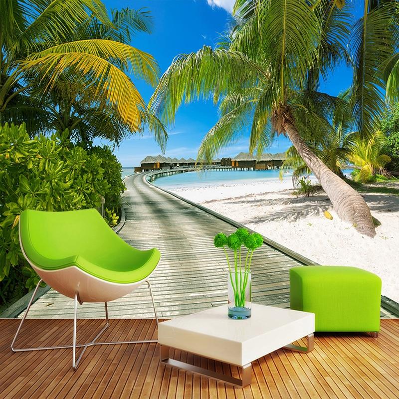 Beach Sea View Photography Background Large Murals 3D Coconut Trees Wooden Bridge Living Room Bedroom Backdrop Photo Wallpaper