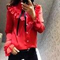 2017 Sexy Red Chiffon Shirt Spring Summer Runway Blouse Women's Long sleeve Bow collar Ruffles Casual Blouse Fashion Tops