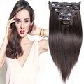 """7A cabelo de Remy brasileiro Brown clipe em extensões de cabelo humano 100 g 120 g 140 g 160 g 180 g 200 g 220 g 4 8 pçs/set 16 """" - 26 """""""