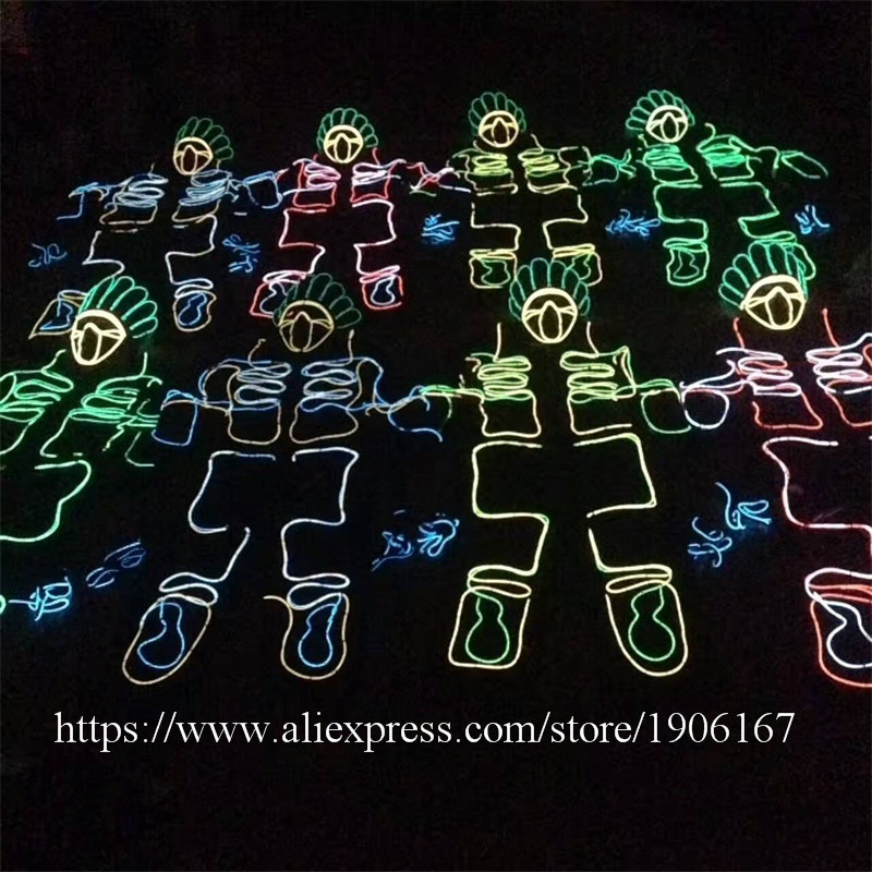 Led Luminous EL Wire Robot Suit Set For DJ DS Illuminated Ballroom Costume Dance Clothing For Stage Nightclub 01