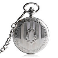 Luxury Skeleton Shield Stripe Silver Pocket Watch Automatic Mechanical Self Winding Exquisite Vintage Trendy Nurse Chain