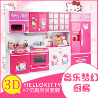 Для девочек дома кухня игрушки Моделирование hollekitty Музыка Мини освещения кухонная посуда подарочная коробка
