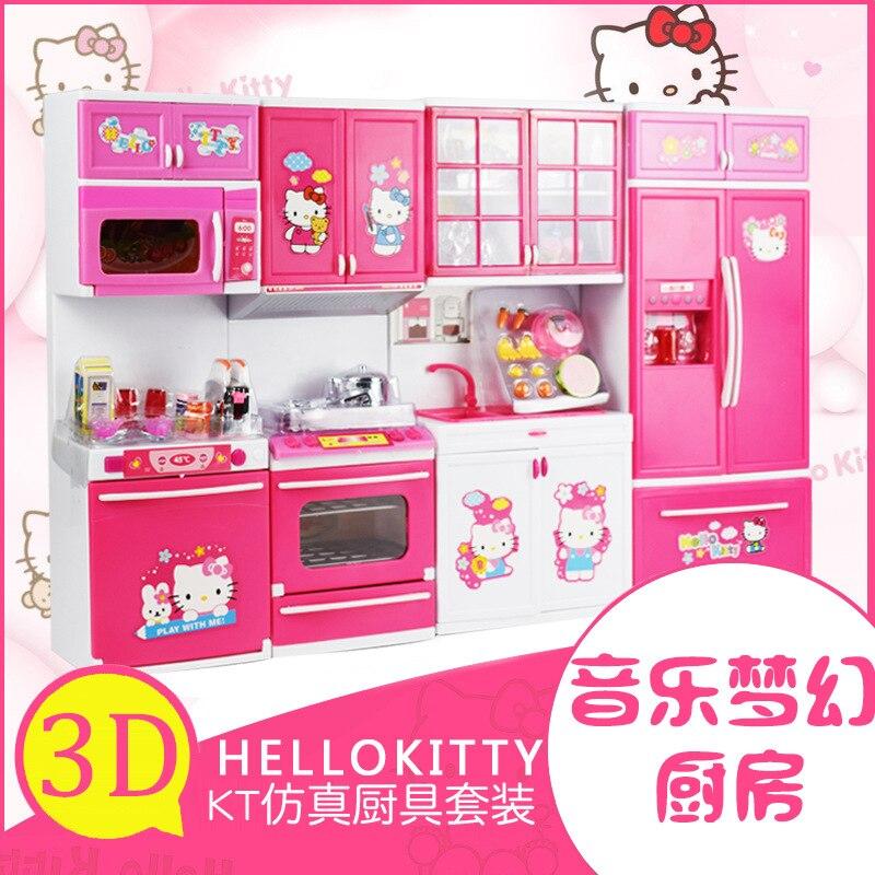 Girls' home kitchen toys simulation hollekitty music Mini lighting kitchenware tableware gift box gift n home