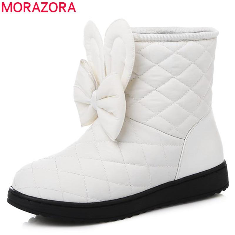 MORAZORA 2017 new Russia winter keep warm ankle boots platform snow boots flats round toe women shoes bowtie lovely shoes new winter shoes 2017 women boots casual ankle boots women slip on flats platform shoes with plush warm snow boots 7e27