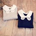1-11 T 2016 de los Bebés T shirt Peter pan Collar blusa de Tocar Fondo Camisetas Primavera Top Kids Niños ropa infantil de la muchacha del arco camisetas