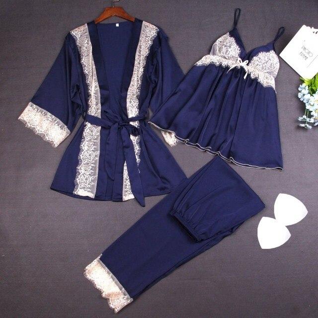 Brand Designer Women Pajama Sets Sexy 3 Pieces Pyjamas Long Pants Robe Set Pijama Feminino Satin Home Suit Sleepwear