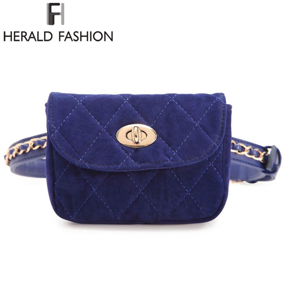 Herold Mode-Lint Frauen Hüftgurt Tasche Kette Gürtel Pack taille Tasche Plaid Kleine Frauen Tasche Reisetasche Hüfttasche Bolsas