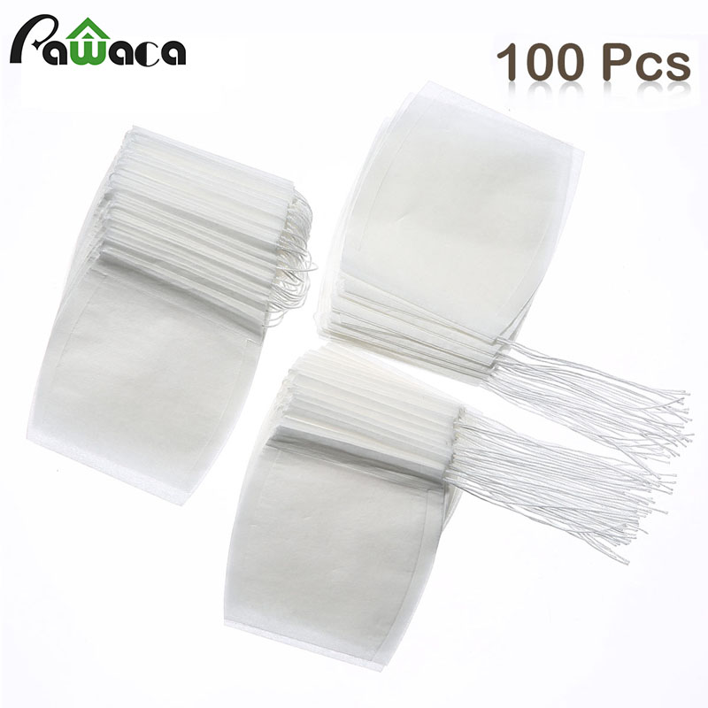100 Pcs Bucket Shape Paper Tea Bags Filter Empty Disposable Tea Infuser Bag With Drawstrin For Loose Tea Flower Herb Pouch Spice