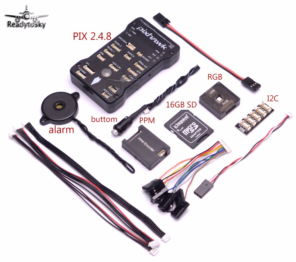 Pixhawk PX4 Autopilot PIX 2.4.8 32 Bit Flight Controller with PPM/ RGB / Safety Switch / Buzzer /16G SD / I2C for F450 S500 S550 pixhawk rgb usb module external led indicator for pix flight controller black