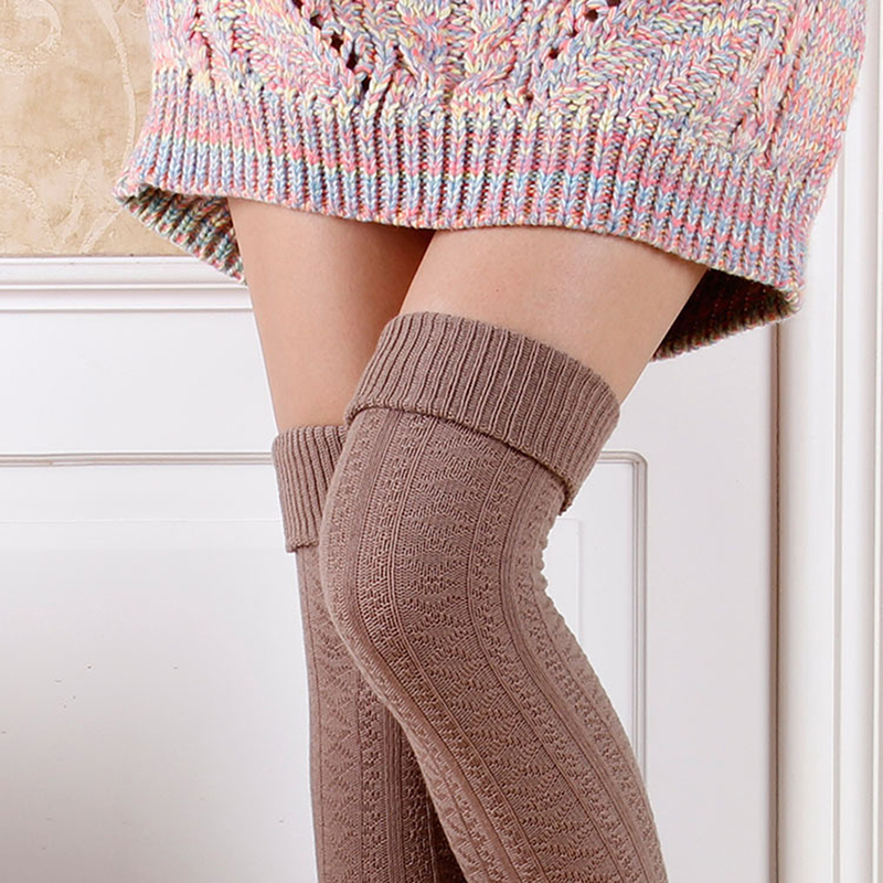 1 Pair Solid Colors Knitted Sexy Stocking Women Warm Thigh High Over The Knee Needle Fashion Ladies Stockings
