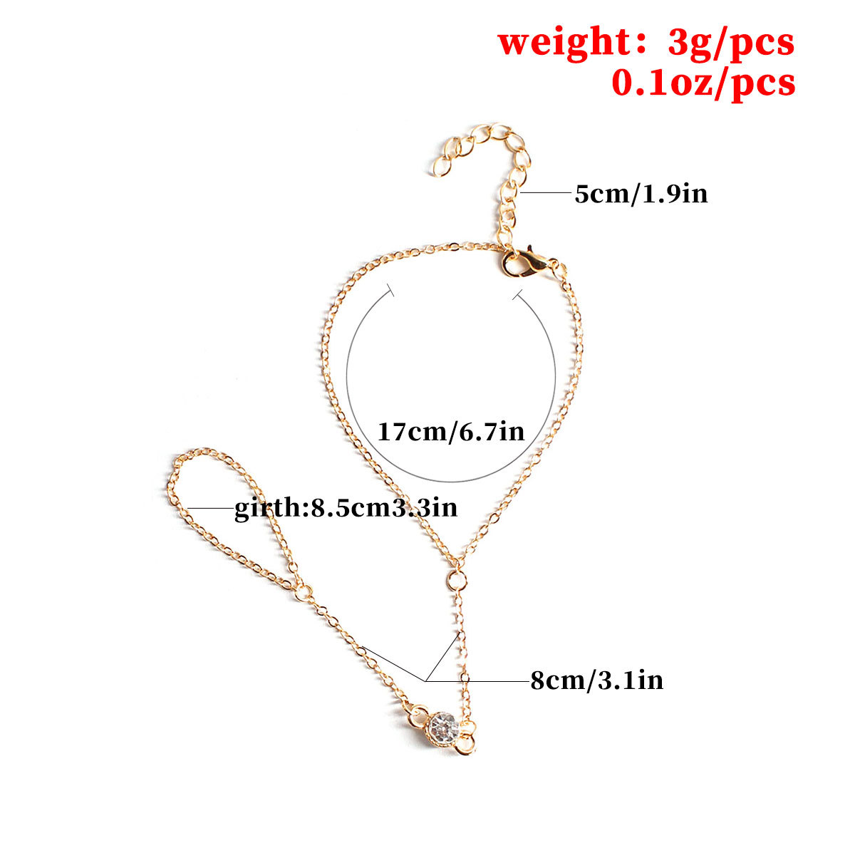 Fashion Inlaid Crystal Finger Chain Bracelet Female Slave Linked Charm Bracelets for Women Hand Accessories L131 in Charm Bracelets from Jewelry Accessories