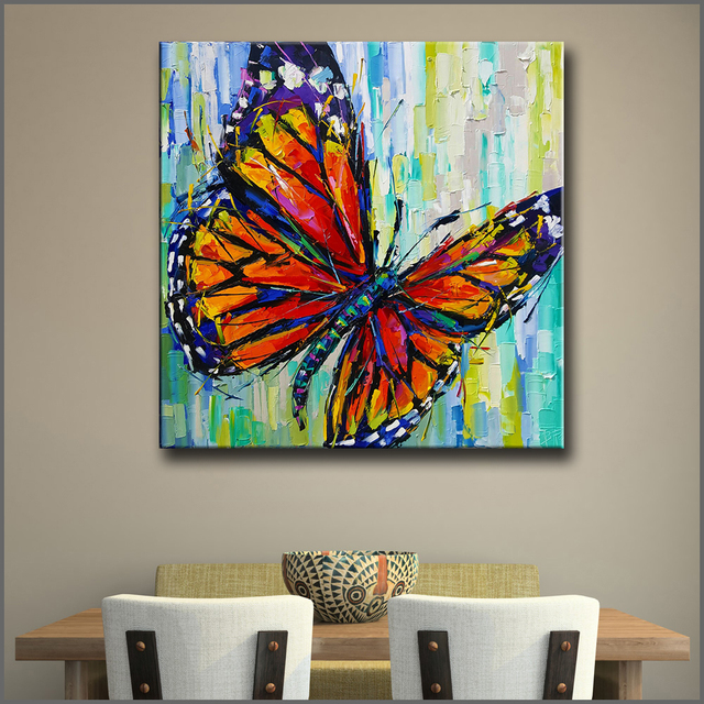 Wlong Art Printing Pop Oil Painting Canvas Color Butterfly Wall Art  Wall Pictures for Living & Wlong Art Printing Pop Oil Painting Canvas Color Butterfly Wall Art ...