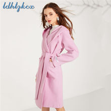 Pink Hooded Double Wool Cashmere Wool Coat Women 2018 Autumn-Winter New Office Lady Loose Elegant Temperament Chic Wool Coat 284(China)