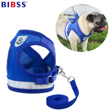 Nylon Mesh Dog Harness för små medelhunder Chihuahua Puppy Vest Reflekterande Walking Cat Harnesses Lead Leash
