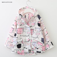 2017 New Spring Autumn Korean Style Children Jacket Coat Baby Boy Girls Cartoon Pattern Cotton Trench