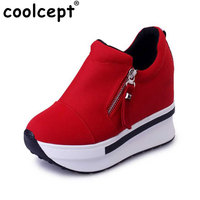 Coolcept Women Spring Autumn Fashion Platform Shoes With Zip Casual Sweet Sneakers Shallow Women Shoes Size