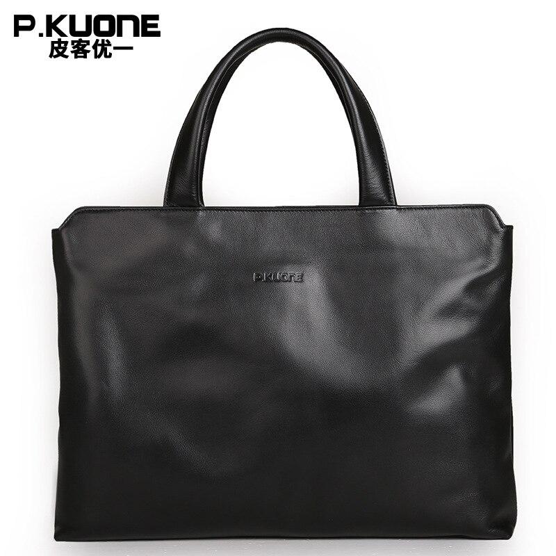 P.Kuone designer brand 100% cowhide men genuine leather handbags man business briefcase mens messenger bags gift for men