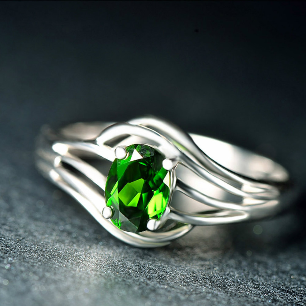Hutang Fashion Rings 0.84 CTW Natural Chrome Diopside Solid 925 Sterling Silver Rings Fine Jewelry for Womens Wedding Rongs