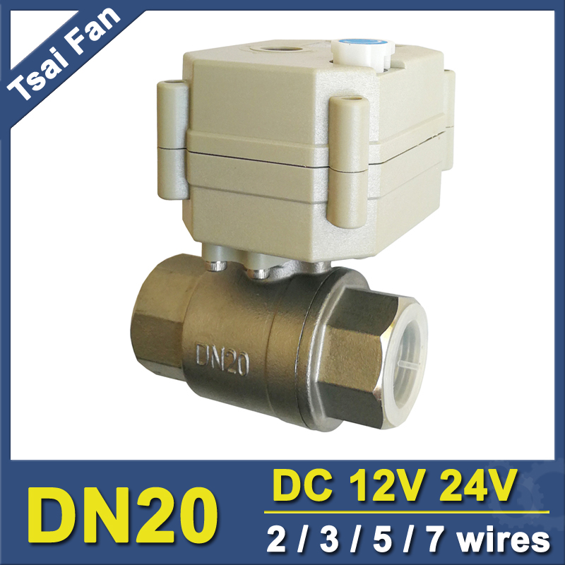 2/3/5/7 Wires DC12V/24V Stainless Steel 3/4 Electric Valve TF20-S2-B DN20 Full Port Motorized Valve With Manual Override tf20 s2 c high quality electric shut off valve dc12v 2 wire 3 4 full bore stainless steel 304 electric water valve metal gear